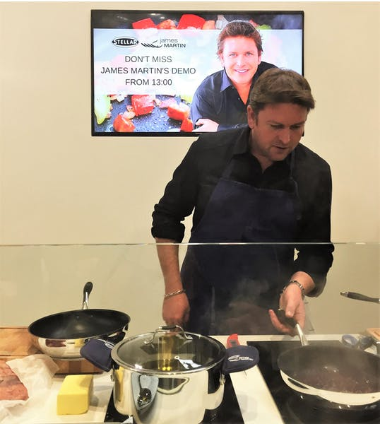 James Martin introducing his new set of Stellar cookware at Spring Fair, 2018