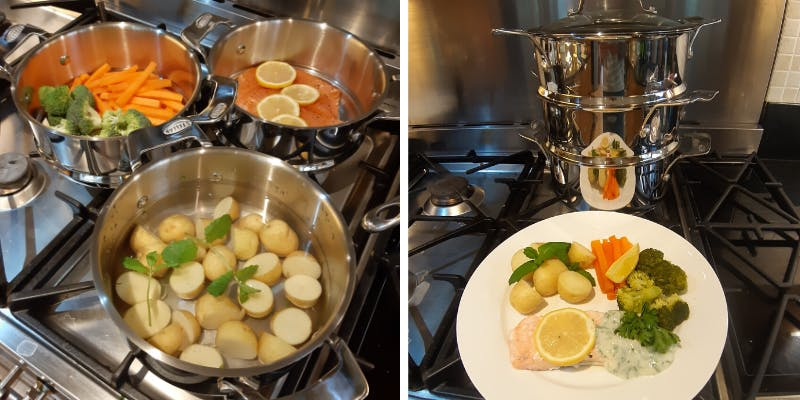 One-pot healthy meal cooked with Stellar 3-tier steamer