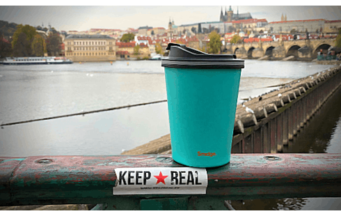 Blue travel mug - insulated, 100% leak-proof