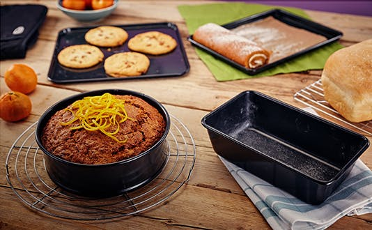 Stellar Bakeware with freshly baked cakes and cookies