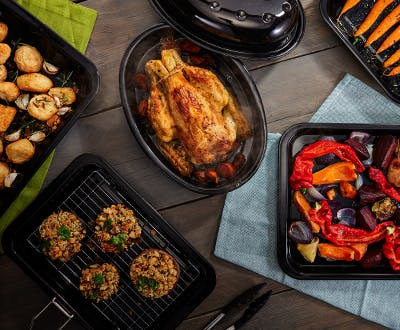 Judge Ovenware - oval roaster, baking tray, grill tray with rack and handle