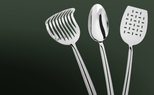 Judge Stainless Steel Tools - masher, perforated turner, solid spoon