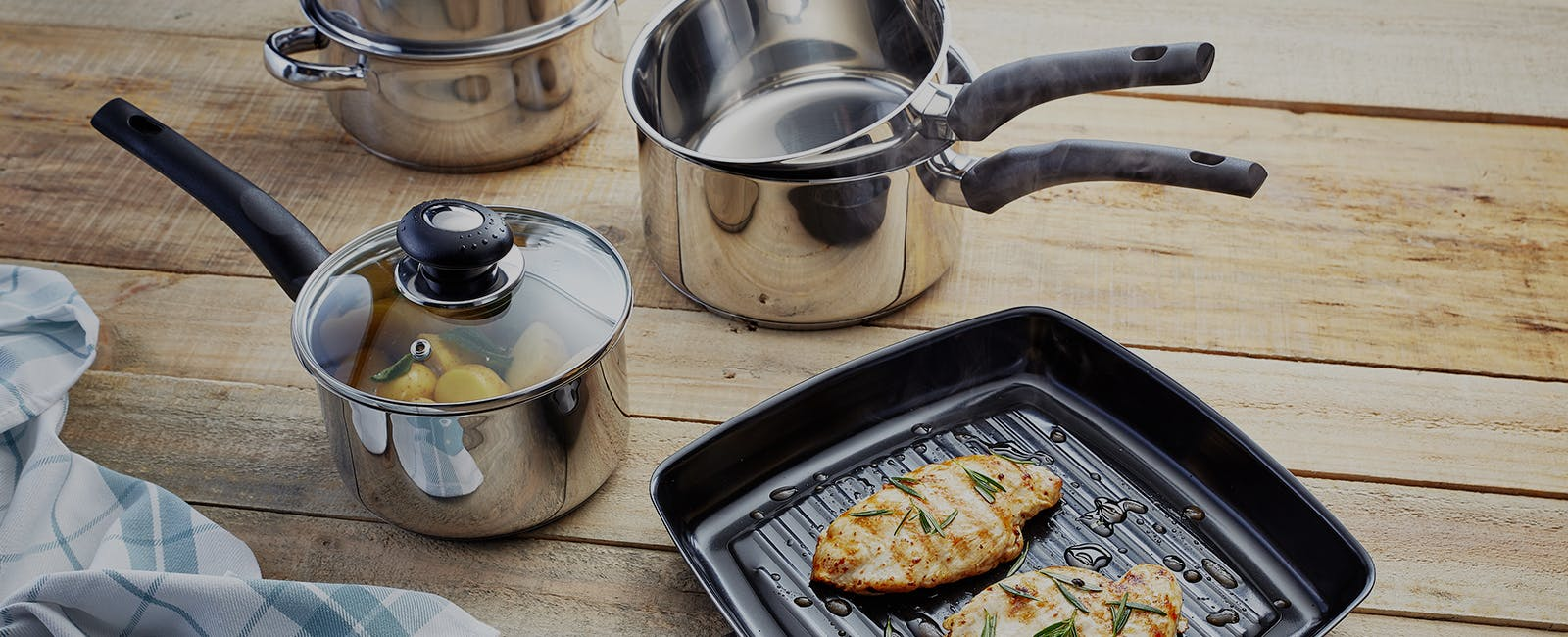 Judge Essentials cookware - saucepans, steamers, grill pans and more