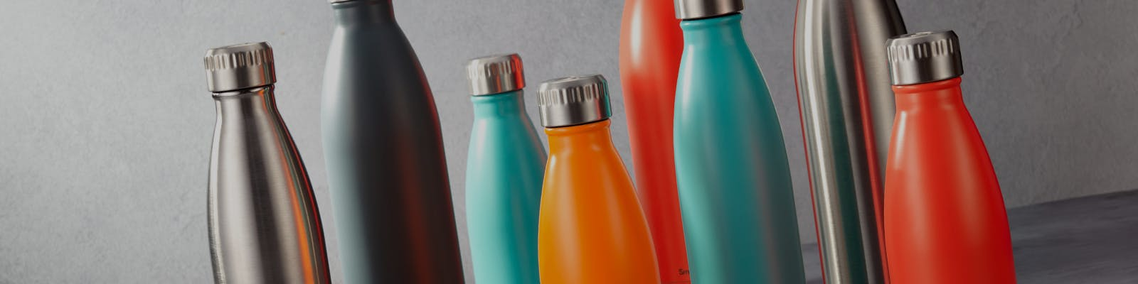 Insulated water bottles - stainless steel, grey, blue, orange, red
