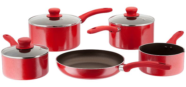 Judge Radiant non-stick cookware set - red