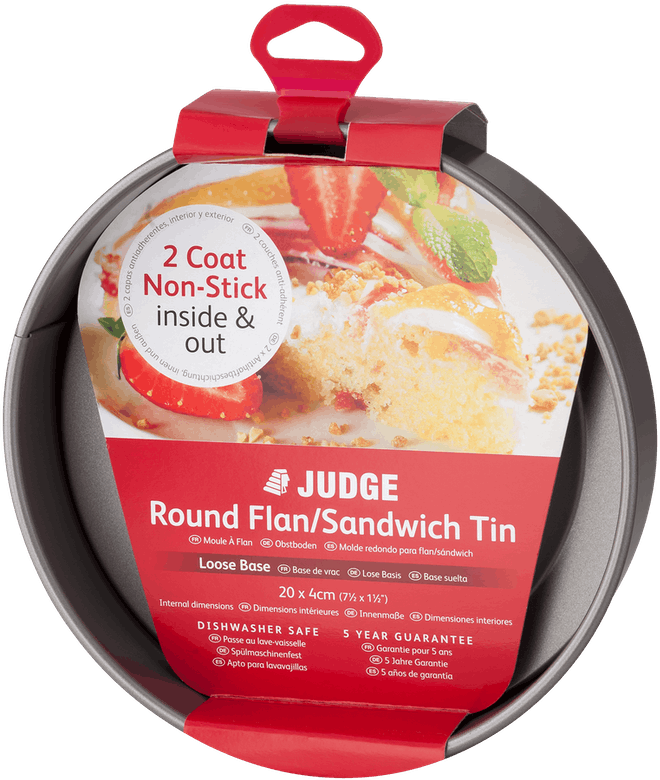 Judge Bakeware  Round Flan Sandwich Tin, loose Base, Non-Stick