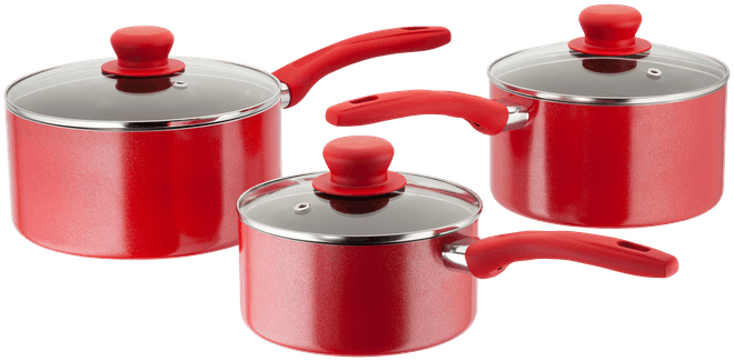 Judge Radiant 3 Piece Saucepan Set Non-Stick Red