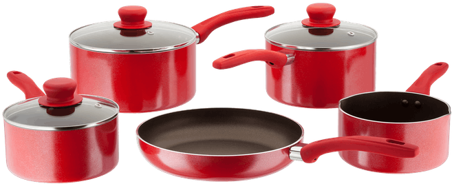 Judge Radiant 5 Piece Saucepan Set Non-Stick Red