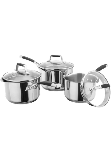 Stellar Induction, 3 Piece Draining Saucepan Set (was P