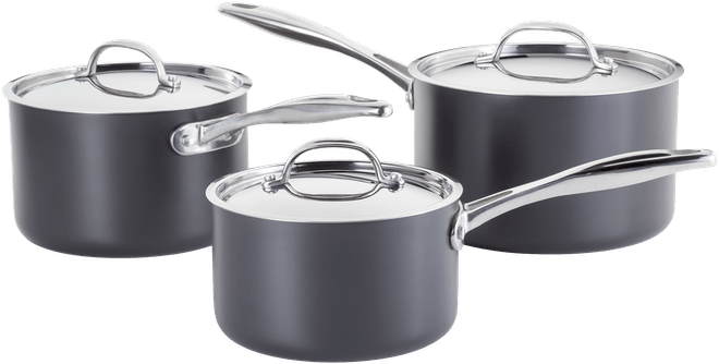 Stellar Hard Anodised Saucepan Set Non-Stick
