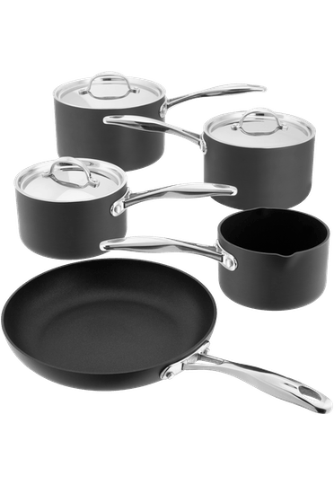 Stellar Hard Anodised, 5 Piece Saucepan Set, Non-S