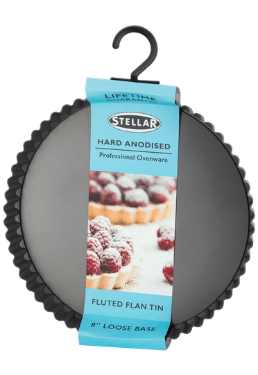 Stellar Hard Anodised Fluted Flan Tin Loose Base